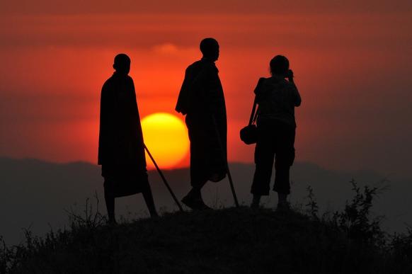 Massajer solnedgång