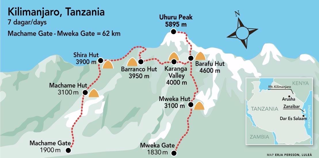 Kilimanjaro Machame karta
